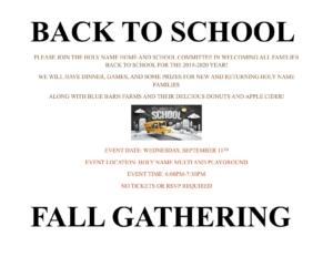 Back to School Fall Gathering @ Holy Name Catholic School | Escanaba | Michigan | United States