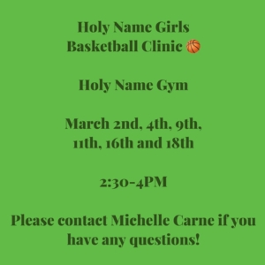 Girls Basketball Skills & Drills Clinic @ Holy Name Catholic School | Escanaba | Michigan | United States
