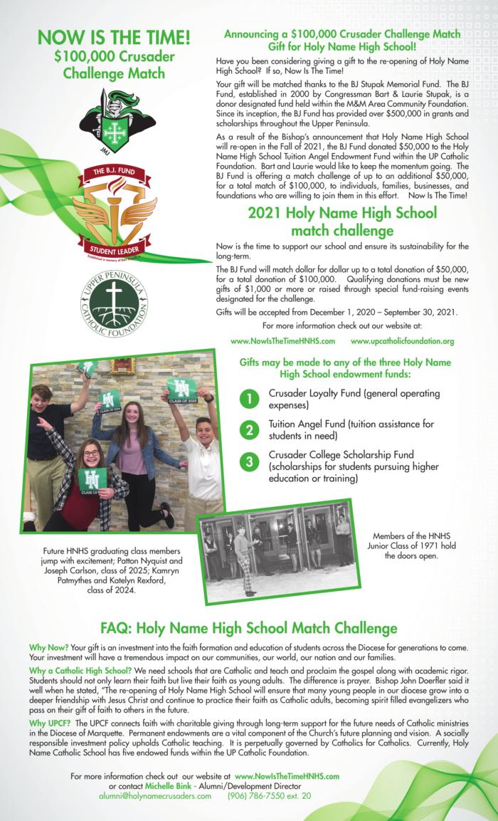 $100,000 Crusader Challenge Match Gift through the BJ Stupak Memorial Fund