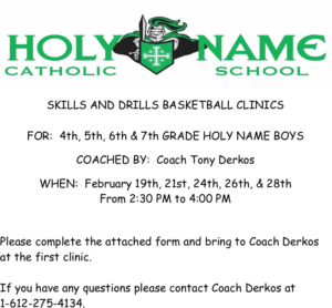 Boys Basketball Skills & Drills Clinic @ Holy Name Catholic School | Escanaba | Michigan | United States